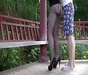 Lady in assless fishnets gets fucked in public