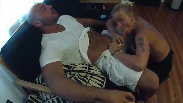 Blonde MILF with big tits taking some dick